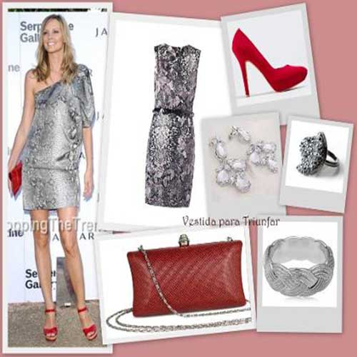 Combinar zapatos rojos con ropa animal print