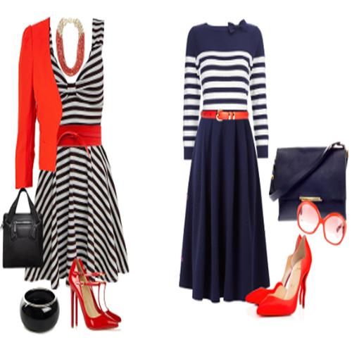 Combinar zapatos rojos de mujer con estilo navy