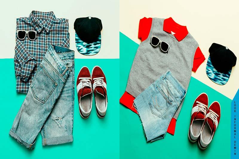 ropa vaquera para combinar zapatos rojo bajitos