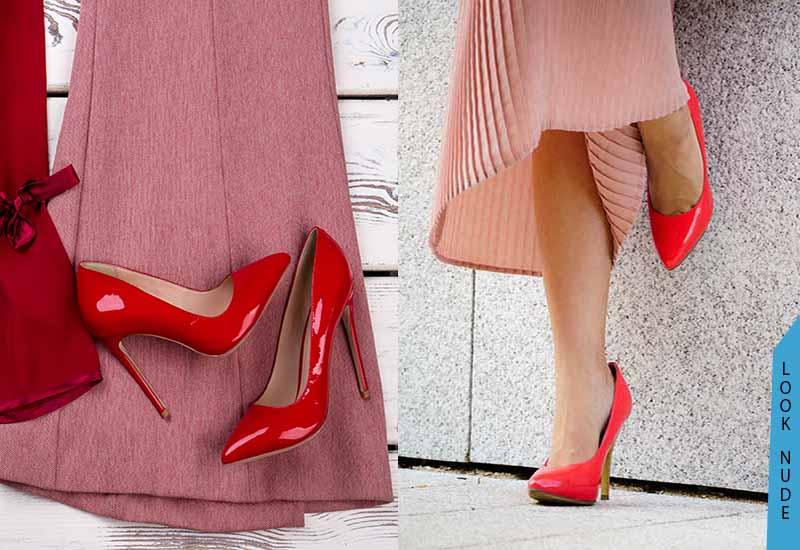 zapatos rojos look nude