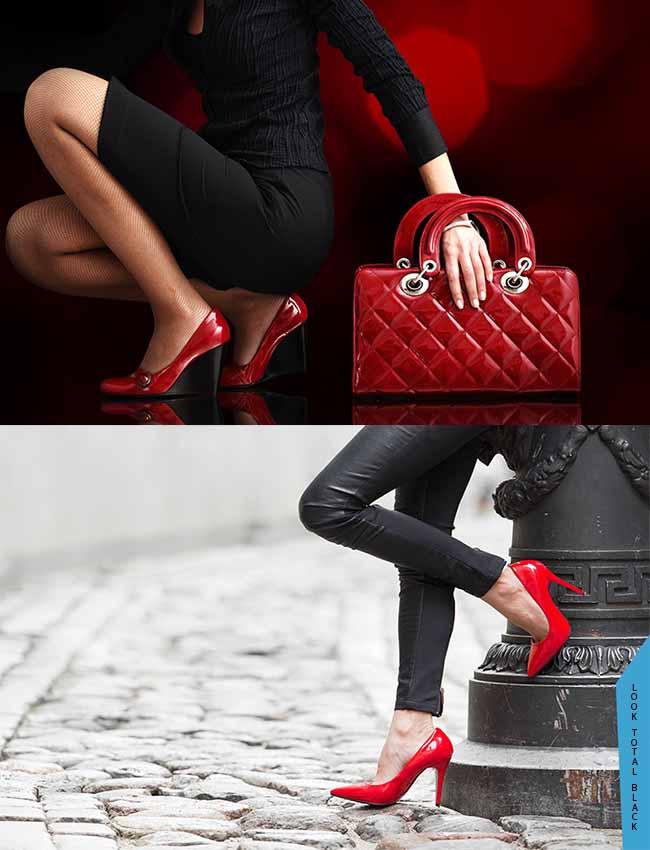 look negro zapatos rojos