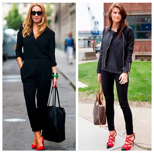 look negro con calzado rojos