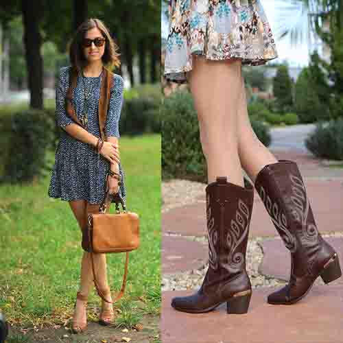 vestido estampado con botas marrones