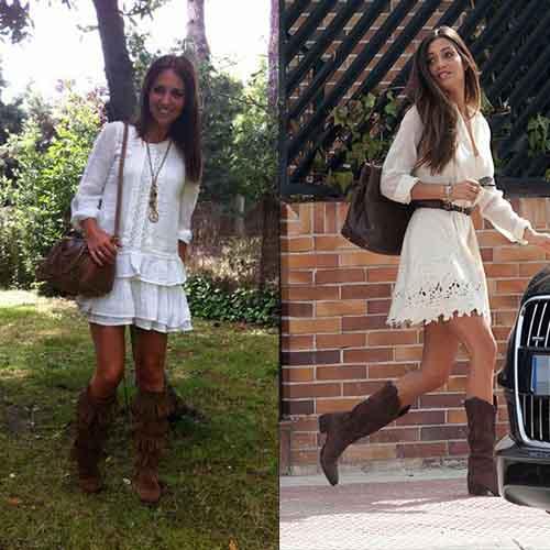 Combinar blanco con botas en marrón