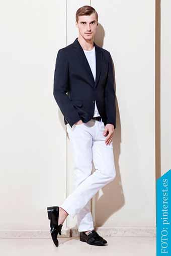 pantalon blanco zapato negro