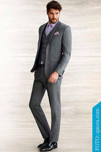traje gris zapatos black