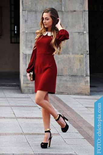 vestido rojo tacones negros